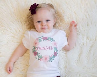 Personalized shirt for girls, watercolor wreath, baby girl personalized gift, baby shower gift, personalized baby outfit, newborn take home