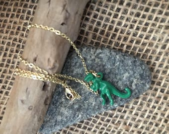 T-Rex Green Charm Necklace