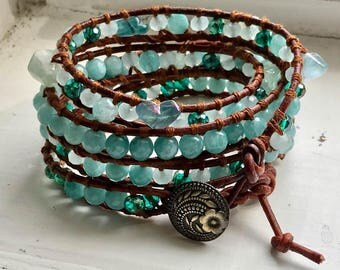 4 Wrap Leather Bracelet, Aquamarine Beads & Swarovski Crystals, Chan Luu Inspired, Antique Style Brass Button FREE SHIPPING!