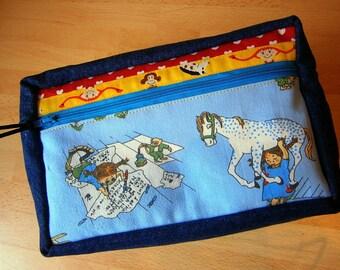 Letteringtasche, Maltasche für Kinder, Pferd, Villa Kunterbunt,Stifteetui, Schweden, Jeans,handmade