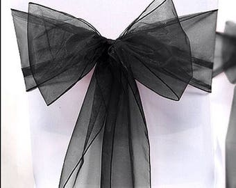 25x Black Chair Sashes Bow Cover for Wedding Engagement Event Party Reception Ceremony Bouquet