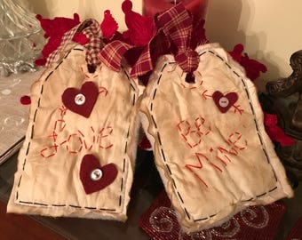 Set of Two Primitive Valentine Tags, Valentine Be Mine Primitive Tags, Primitive Fabric Tags