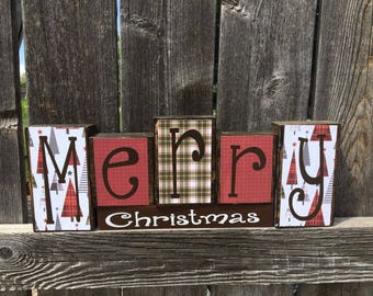Merry Christmas wood blocks--Christmas blocks
