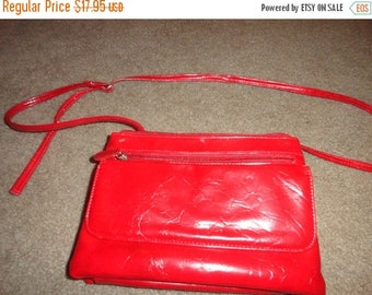 50% OFF Vintage Shiny red purse or fanny pack 13 inch by 8 inch