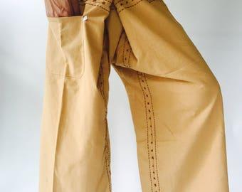 FD0050 Hand stitch Unisex Thai fisherman pants, stitch Inseam design for Thai Fisherman Pants Wide Leg pants, Wrap pants