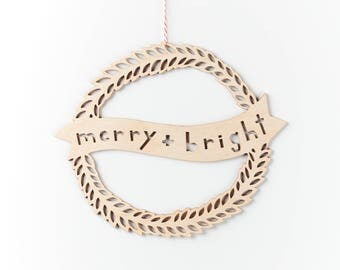 Holiday Wreath - Merry and Bright - Christmas Door Hanging Wreath Lasercut Birch