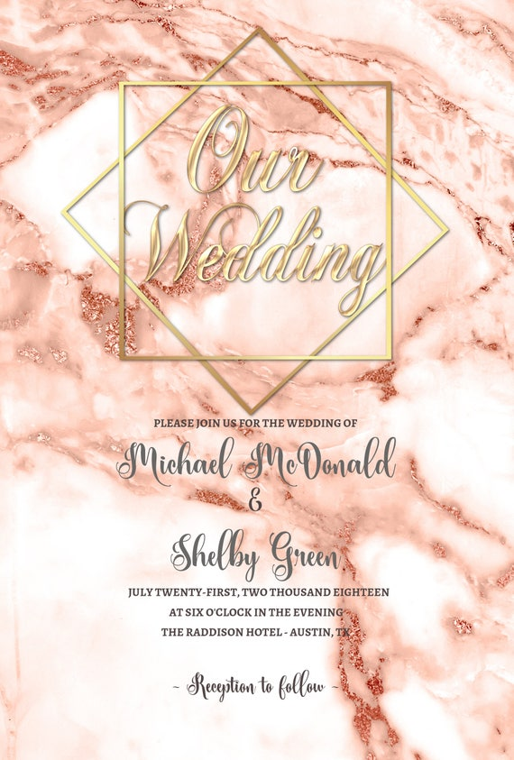 Affordable Printed Wedding Invitation Kit Rose Gold Marble