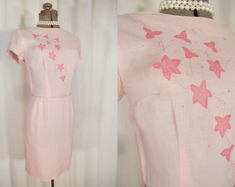 1940s Dress -  Small 40s Pink Linen Fitted Day Dress with Appliqued Decoration
