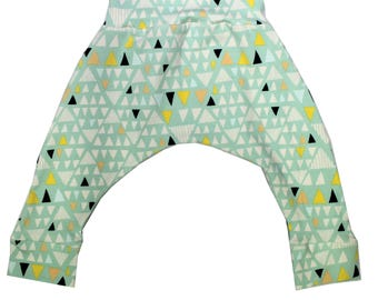 Minty Triangles Harem Pants, Baby and Kids Harem Pant Leggings, Gender Neutral Geometric Print, Mojave Aloe
