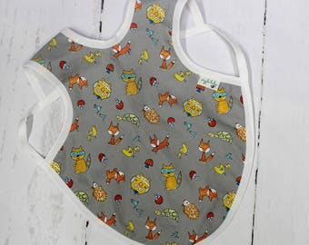 Animal Toss Bapron, Full Coverage Bib, Art Smock, Baby Toddler Apron Bib, Fox, Racoon, Forest Animals
