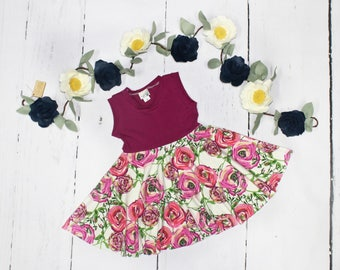 6-12m Peony Swing Dress, Spring Summer Full Circle Tank Dress, Easter Dress, Girls Twirl Dress