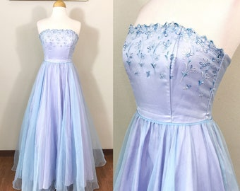 1980s Vintage Dress / Ethereal / Lavender Organza / Eyelet lace / 80s Prom Dress