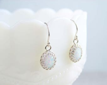Opal Earrings, Sterling Silver, October Birthday, Dangle Earrings, Crown Setting, White Opal Earrings, Bridesmaid Earrings