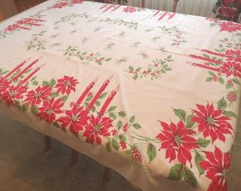"Christmas holiday cotton tablecloth / vintage 1950s / 54"" x 61"""