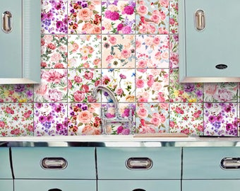 English Rose Kitchen Bathroom Backsplash Tile Wall Decal/ Stickers,  Removable Stair Riser Decal,