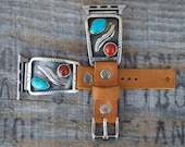 Turquoise Coral Sterling Leather Apple i Watch Band . 38mm . Old Pawn Sterling. Softest Leather