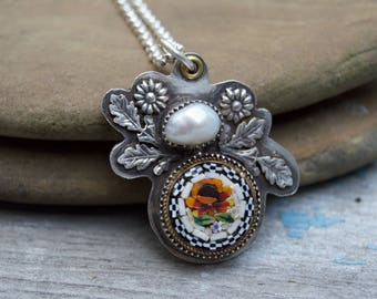 Micro Mosaic Sterling Necklace . Freshwater Pearl. Sterling Necklace. Flowers. Handmade . Fine Silver . Rustic . Earthy . Boho .