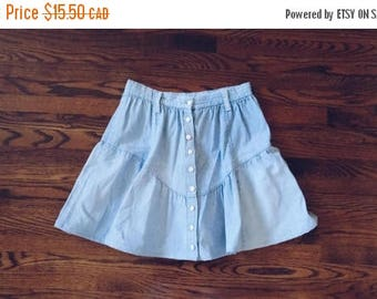 HELLO SUMMER SALE Vintage High Waist Denim Button Up Skirt