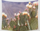 cactus wall tapestry, prickly pear, cactus photography, dorm decor, cactus blooms, cactus decor, wall tapestries, nature photography, west