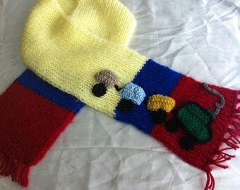 Kids scarf , train scarf, children scarf, toddler scarf, chu chu train kids scarf, warm kid scarf.