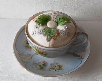 Handmade Pincushion Felted Wool Grapes & Grape Leaves in an Austrian Tea Cup and Saucer