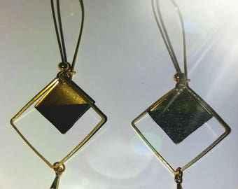 Earrings double square