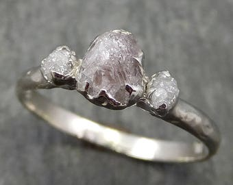 Rough Pink Grey Diamond Engagement Ring Raw 14k White Gold Wedding Ring diamond Multi stone Rough Diamond Ring 0600