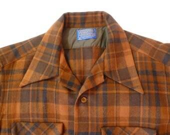 Vintage Pendleton Shirt~~XL Plaid Wool Shirt~~Board Shirt~~Men's Wool Shirt~~Pendleton Woolen Mills Shirt~~Rust Plaid Shirt~Lumberjack Shirt
