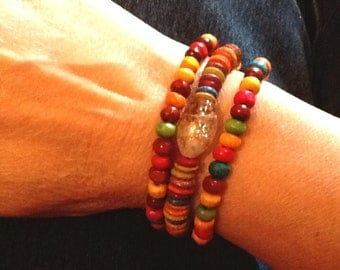 Colourful, wooden, handcrafted, bracelets, stretchy, local BC pine