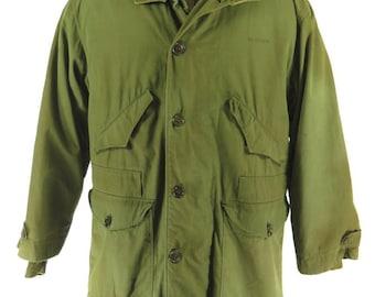 Vintage 40s WWII Military Overcoat Parka Coat L Shapiro 1945 Pile Liner Hooded [H41E_7-5_Long]