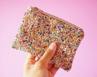 Multicoloured Gold Glitter Coin Purse, Sparkly Coin Pouch, Colourful Glitter Coin Purse, Gold Glitter Purse, Glittery Zipped Pouch,