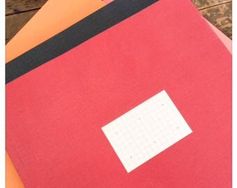 Large Red Notebook with Grid Paper Sheets