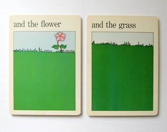 Flower and Grass - Vintage Pop Art - MOMA Art Cards - Green Grass Wall Decor - Typography Art - Museum of Modern Art Print - Paper Ephemera