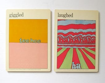Giggled and Laughed - Vintage MOMA Art Cards - Childrens Room Decor - Typography Art - Museum of Modern Art Mid Century Modern Art Decor