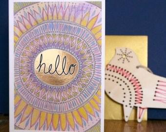 Hello Hand Painted, Gold Foiled A6 Greetings Card, Blank Card, Hello Card, Mandala Card, Just Say Hello Card, Just a Note, Just Say Hi Card