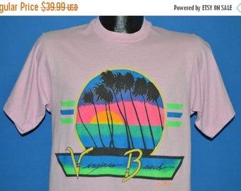 XMAS in JULY SALE 80s Virginia Beach Neon Sunset t-shirt Medium