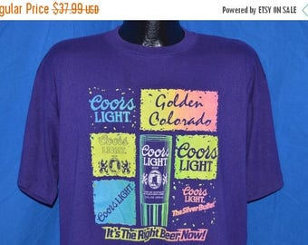 XMAS in JULY SALE 90s Coors Light Beer Golden Colorado Neon Purple Vintage t-shirt Extra-Large