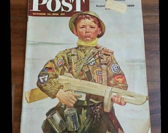 1944 Saturday Evening Post, WWII Boy Scout in full Uniform!