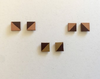Leather stud earrings, brown and gold, rose gold, minimalist
