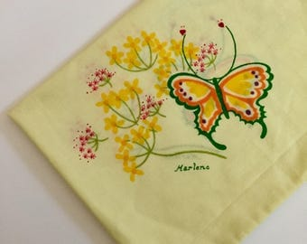 Vintage Yellow Standard Pillowcase with Butterflies and Flowers- Marlene Designs 1975 - Tastemaker/J.P. & Standard pillowcases | Etsy pillowsntoast.com
