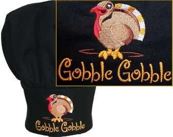 Gobble Gobble Turkey Chef Hat Funny Thanksgiving Holiday Monogram Custom Embroidered