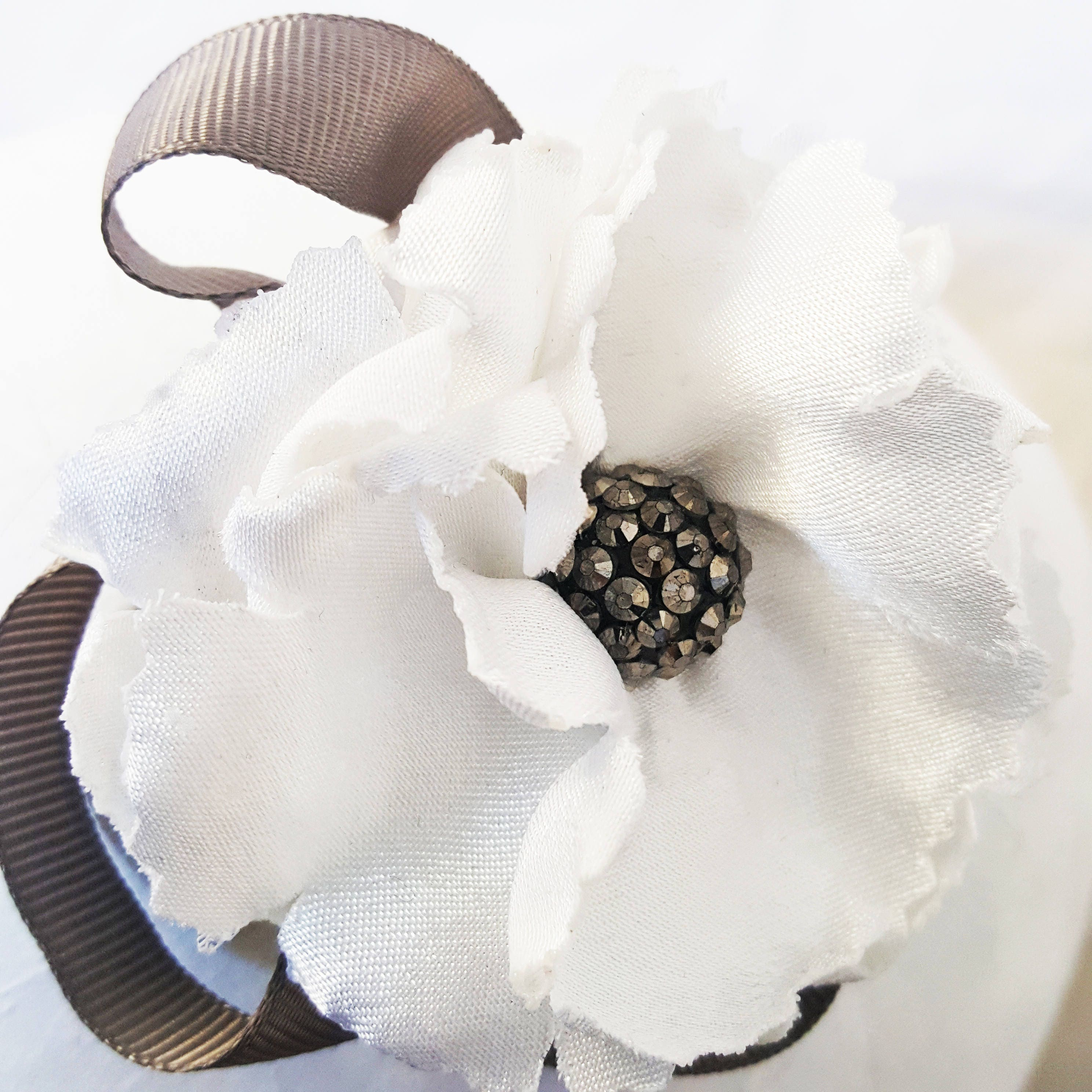 White Hair Flower Fabric Flower Fabric Corsage Shabby Chic Flower