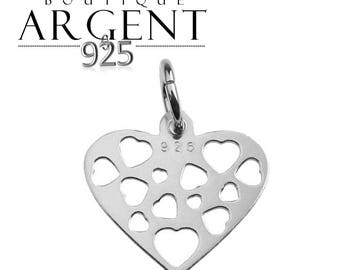 Charm heart 15.2 mm X 12.7 mm Sterling Silver 925 for jewelry making