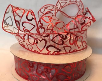 "Valentine ribbon 6 yards, 1.5"" wide, Lion Ribbon Heart ribbon, hearts ribbon, wired Valentine ribbon, wired heart ribbon, red and white"