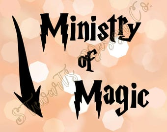 Premium Vinyl Decal - Harry Potter Ministry of Magic Entrance This Way Wizard Witch - Car Window - Laptop Case - Yeti Tumbler Mug Cup