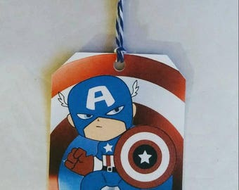 Captain America Party Favor Tags, Personalized, 10 ct