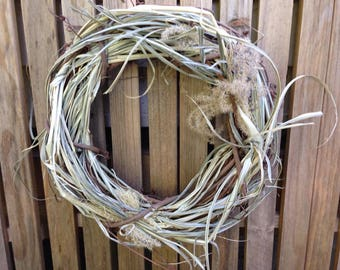 Rustic fall wreath beach decor grasses handmade simple grapevine