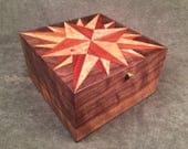 Mariner's Star Quilt Block on a Wood Marquetry Keepsake Box by Quiltboxes