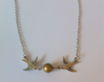 Vintage swallows and Pearl, silver and gold necklace