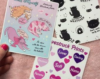Lovestruck Femme sticker sheet - barbie art - Vinyl Sticker Sheet - Lovestruck Prints